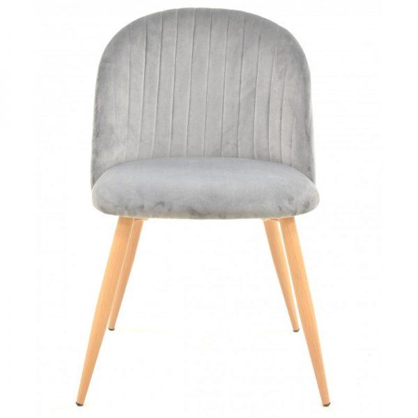 silla tapizada terciopelo gris patas madera