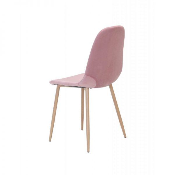 silla tapizada color rosa patas madera