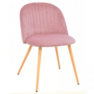 silla tapizada terciopelo rosa patas de madera