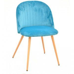 silla tapizada terciopelo turquesa patas madera