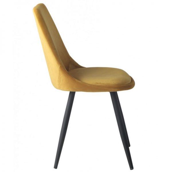 silla tapizada terciopelo mostaza patas negras