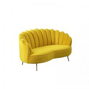 sofá 2 plazas terciopelo amarillo mostaza