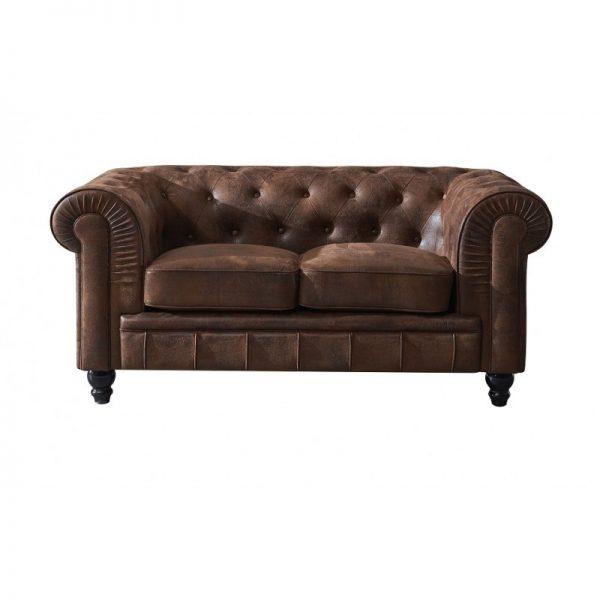 sofá chester 2 plazas color marrón viejo