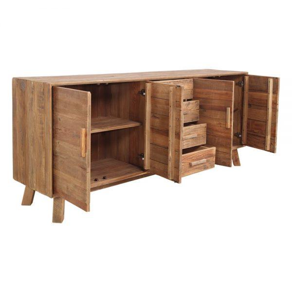 aparador de madera para tv con puertas y cajones