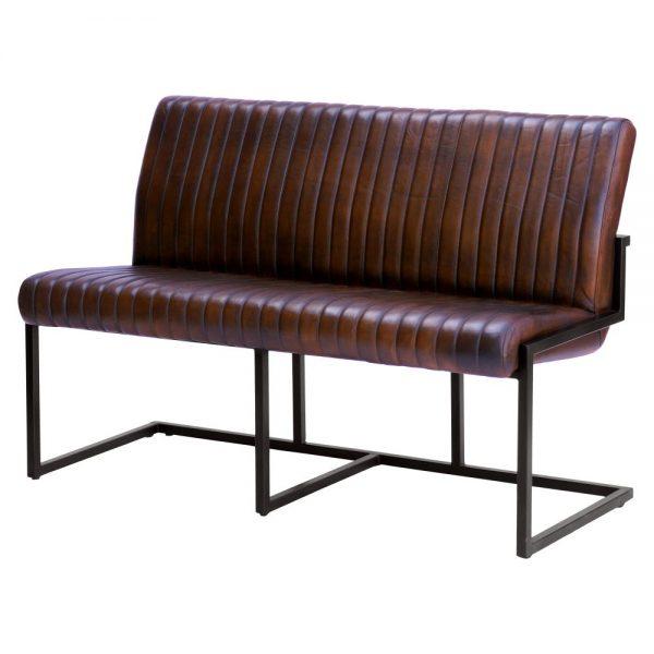 banco estilo industrial tapizado cuero marrón
