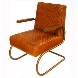 sillón estilo industrial tapizado cuero marrón