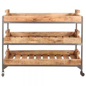 estantería industrial con ruedas madera y hierro