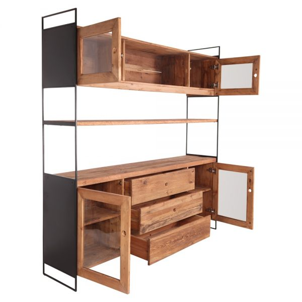 estantería estilo industrial madera y hierro