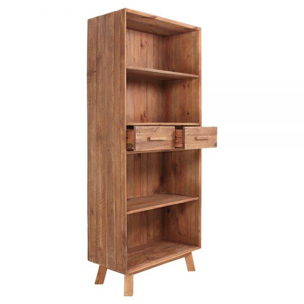estantería madera maciza con estantes y cajones