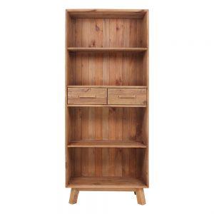 estantería madera con estantes y cajones