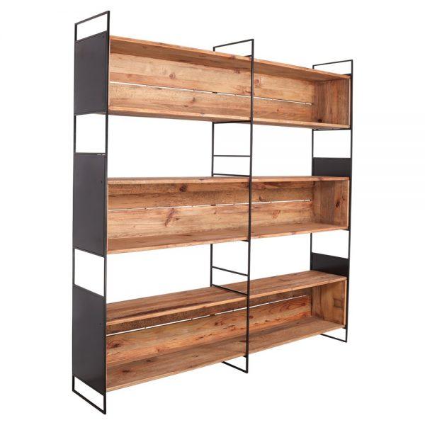 estantería industrial madera y hierro