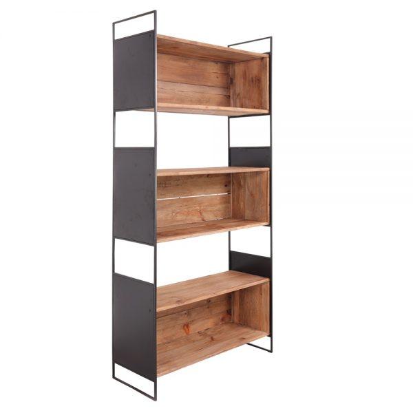 estantería diseño industrial madera y metal