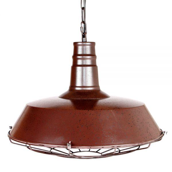 lámpara industrial colgante ccon rejilla color óxido