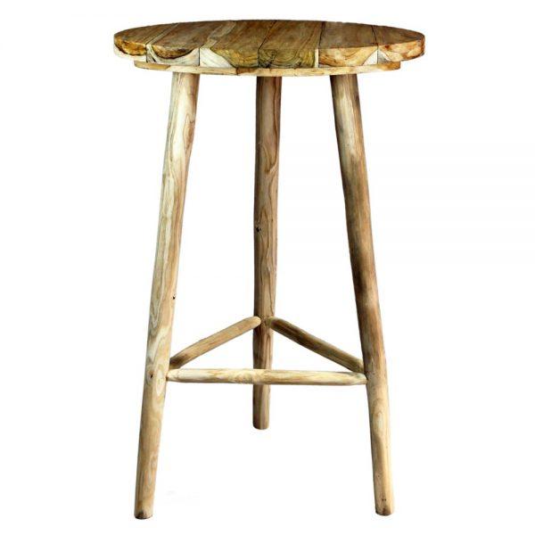 mesa alta redonda madera maciza