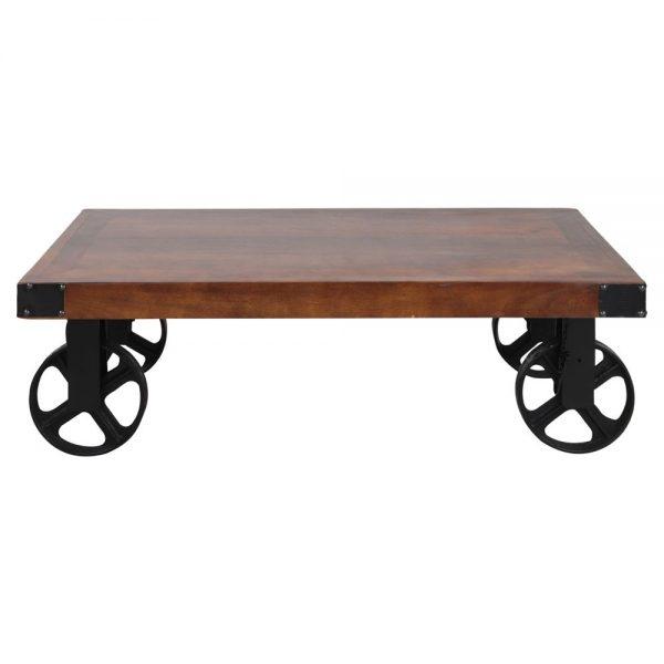 mesa centro industrial madera y ruedas metálicas