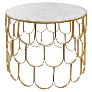 mesa centro redonda marmol blanco patas doradas