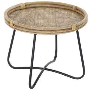 mesa de centro redonda rattan natural