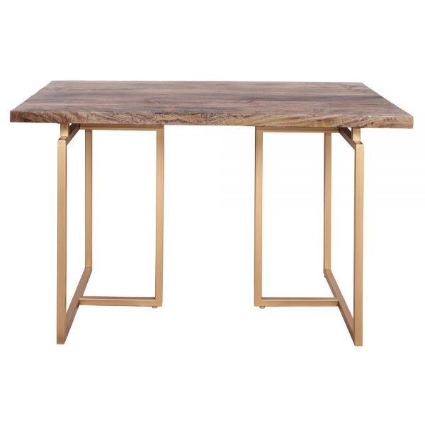 mesa escritorio madera y metal dorado