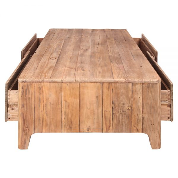 mesa centro madera con cuatro cajones