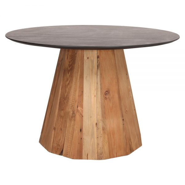 mesa redonda comedor tapa negro y pié central madera