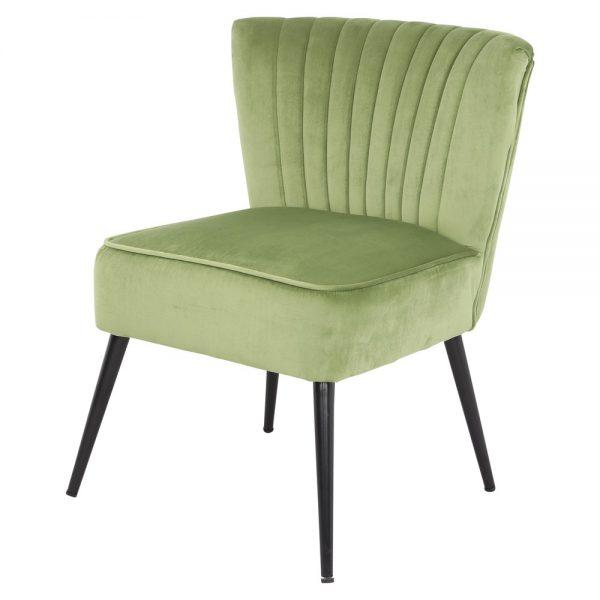 sillón tapizado terciopelo verde patas negras
