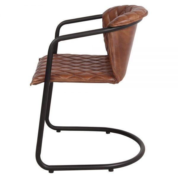 silla con asiento tapizado piel y patas de metal