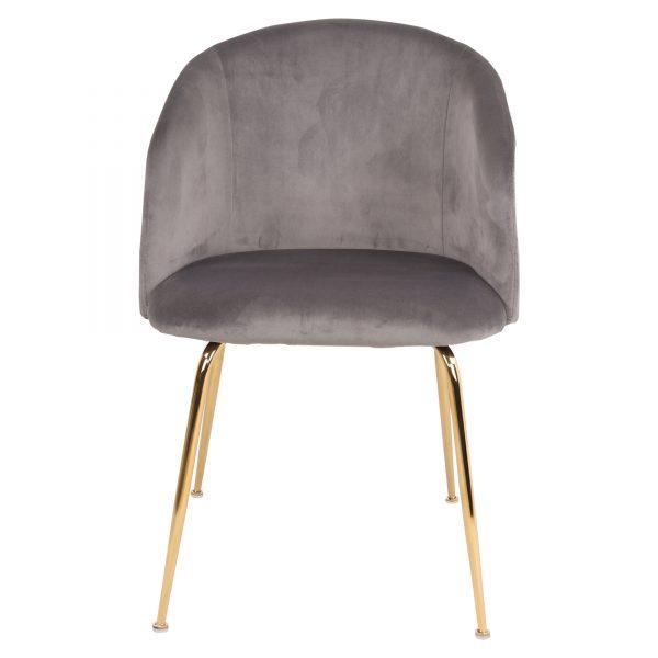 silla comedor gris patas doradas