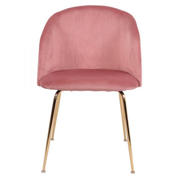 silla asiento tapizado rosa patas oro