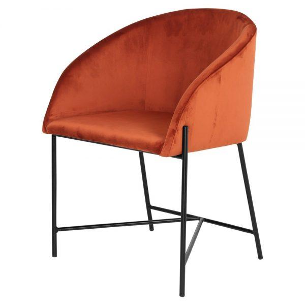 silla tapizada terciopelo terracota patas negras