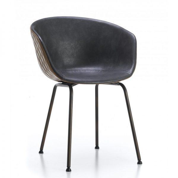 silla comedor tapizada marron y gris patas metal negro