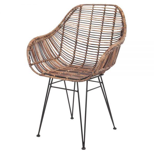 silla en rattan natural patas negras