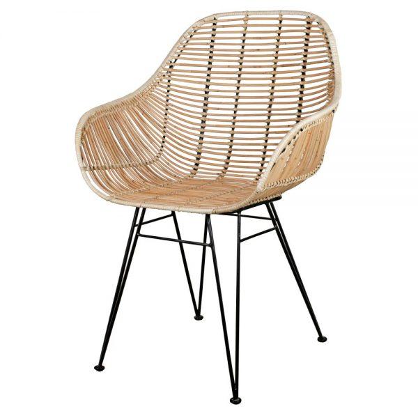 silla con asiento rattan natura patas negras