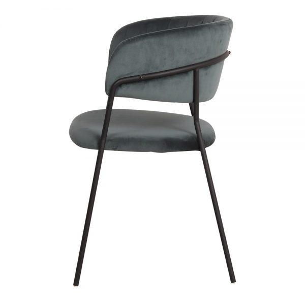 silla terciopelo azul con patas negras