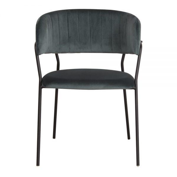 silla tapizada terciopelo azul patas metal negras