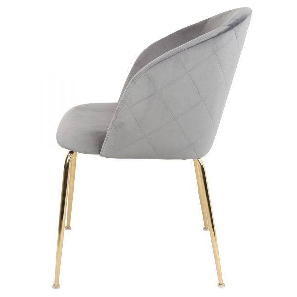 silla terciopelo gris patas metalicas