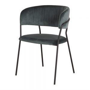 silla terciopelo azul patas negras