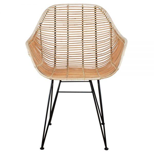 silla en rattan natural patas metal