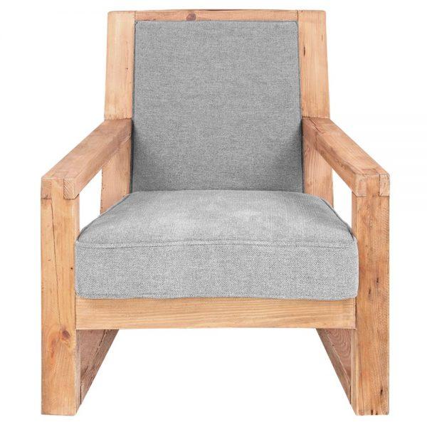 sillón estructura de madera tela gris