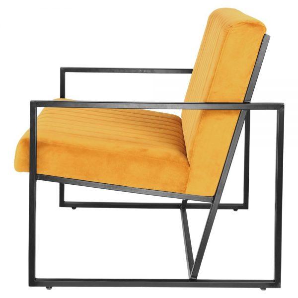 sillón estructura metal negro y tapizado amarillo mostaza