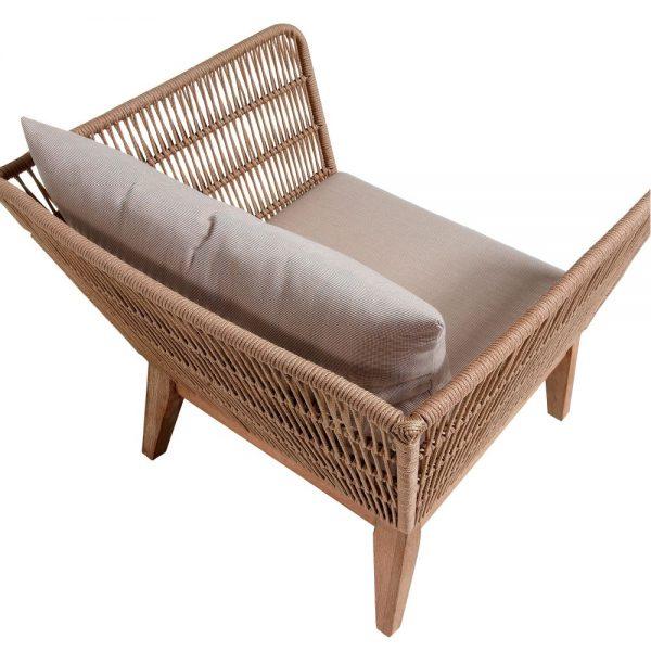 sofa terraza diseño respaldo trenzado