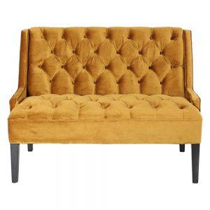 sofá tapizado terciopelo amarillo mostaza