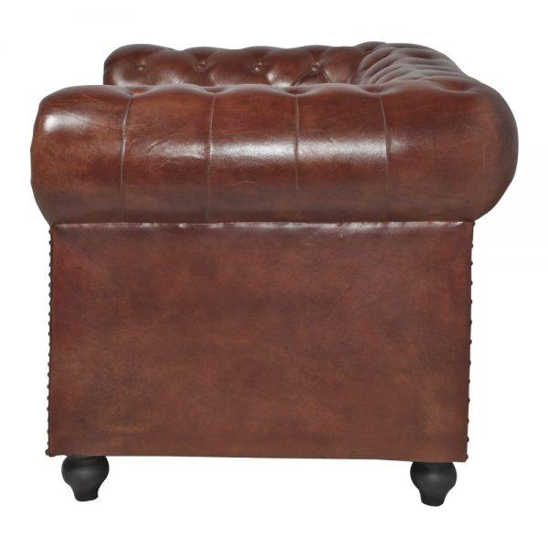 sofá tipo chester tapizado cuero marrón