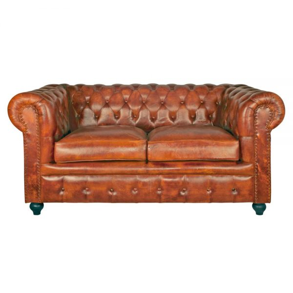 sofá chester 2 plazas piel marrón