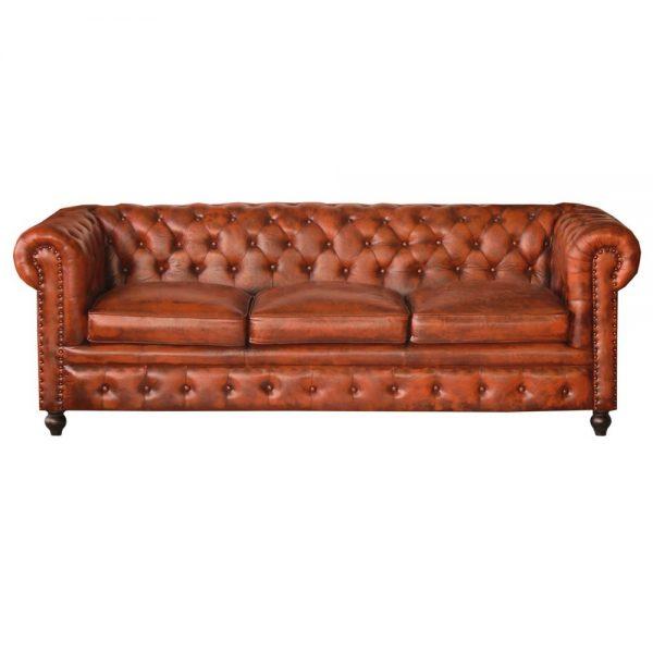 sofá chester 3 plazas piel marrón