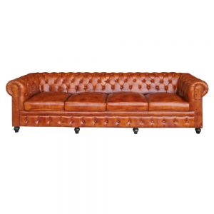 sofá chester 4 plazas piel marón