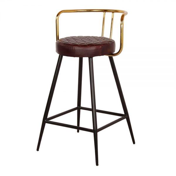 taburete asiento piel patas negras y respaldo dorado