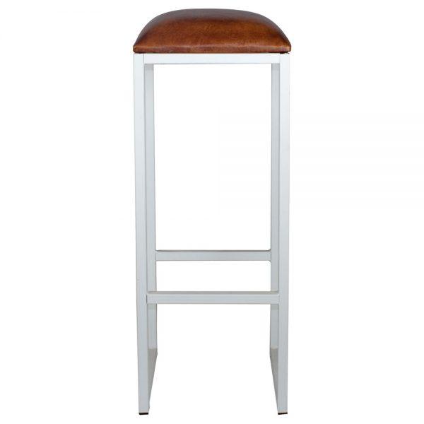 taburete barra metálico blanco asiento marron