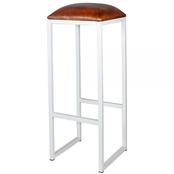 taburete bar industrial blanco asiento cuero marrón