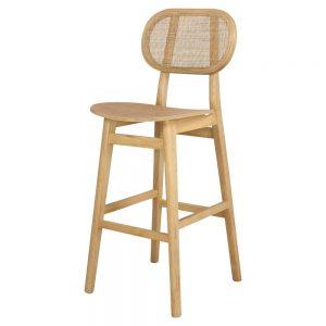 taburete alto madera con respaldo estilo nórdico