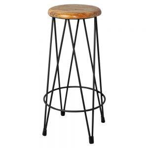 taburete industrial asiento madera patas metal
